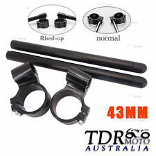 Clip-ons 43mm Handlebars Handle Bars CNC Riser Raised Fork For Honda Yamaha Buel