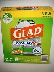 Glad Tall Kitchen Drawstring Trash Bags 13 Gallon 120 Ct, with Febreze Freshness
