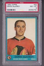 1962 Topps #25 DENIS DeJORDY PSA 8 nm/mt Chicago BLACK HAWKS Goalie
