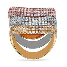 Three Tone Color Triple Ring .925 Sterling Silver CZ Three Piece Wave Roll Ring