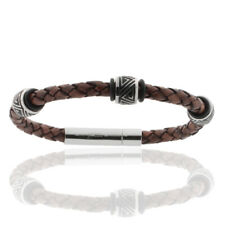 Antique Brown Men's Bracelet Leather Braided Stainless - STORCH SCHMUCK Germany