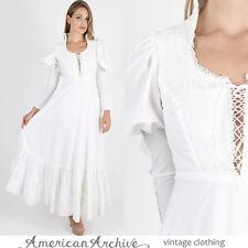 Vintage 70s Gunne Sax Dress Boho Wedding Crochet Lace Corset Hippie Prairie Maxi