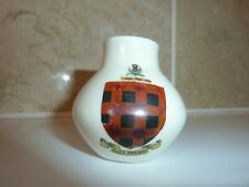 ARCADIAN CHINA 5 CM HIGH VASE WITH CLAN ROBROY  SCOTTISH TARTAN CREST