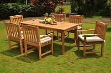 """DSDV Grade-A Teak Wood 7pc Dining 71"""" Rectangle Table 6 Arm Chair Set Outdoor"""