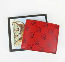 Gucci Men's Red Leather Bifold Wallet with GG Hamlet Skull Print 449422 8969