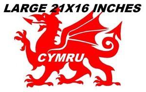 "LARGE 21"" car bonnet side sticker wales welsh dragon cymru vinyl van wall decal"