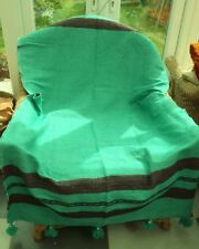 WOOL & COTTON  MOROCCAN BLANKET * CHAIR COVER * PICNIC RUG * THROW OVER * GREEN