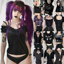 Women T-shirt Goth Punk Tops Casual Slim Short Sleeve Tee Hip Hop Streetwear Top