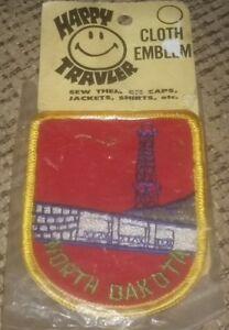 NORTH DAKOTA STATE Happy Traveler Travel Patch Emblem Vintage NEW SEALED Antique