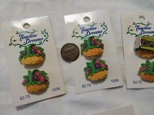 "Vintage Timeless Dreams Flower Basket Buttons on Cards ~ 3/4"""