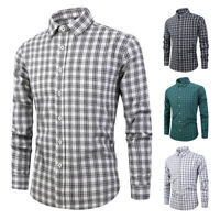 Mens Dress Shirts Long Sleeves Casual Luxury Slim Fit Plaids Checks ST6508
