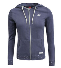 PUMA Womens Full Zip Up Varsity Hooded Jumper Sweatshirt Blue 568113 16 CC71