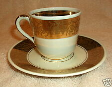 FURSTENBERG MADE IN GERMANY PORCELAIN DEMITASSE CUP AND SAUCER WITH GOLD DESIGN