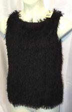 NEW STUDIO M Womens Fringe Shirt Size Medium Top Black Eyelash Fur Dress Blouse