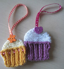 2 X HAND KNITTED CUPCAKE TAGS DECORATIONS. JUST ADORABLE 4 EASTER