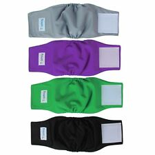 Teamoy 4pcs Reusable Wrap Diapers for Male Dogs, Washable Puppy Belly Band (XS,
