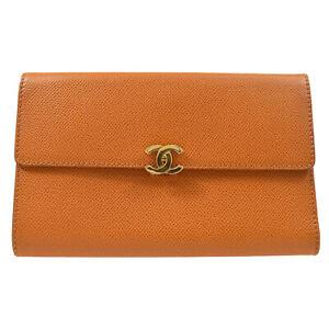 CHANEL CC Logos Trifold Wallet Purse Caviar Skin Brown 5617467 82996