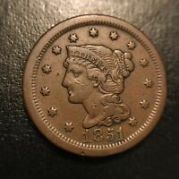 1851 Coronet Large Cent Choice XF Extremely Fine Braided Hair 1c