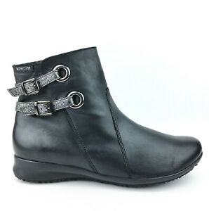 Mephisto Women's Flavie Black Leather Wedges Ankle Boots sz: US 8.5