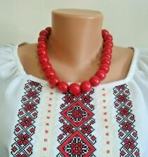 Red Large beads necklace wooden bead necklace Ukrainian Beaded necklace wood