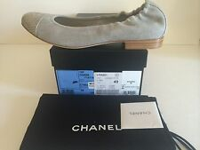 CHANEL Grey Canvas Flats Shoes w/Snake Leather Cap Toe Ballets 39.5 & 40 NIB