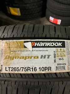 1 New LT 265 75 16 LRE 10 Ply Hankook Dynapro HT Tire