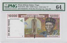WEST AFRICAN STATES / Togo 10000 FRANCS P#814Tj 2001 .PMG 64  UNC