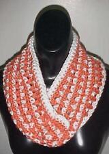 Hand Crochet Loop Infinity Circle Scarf/Neckwarmer #126 Paprika/White New