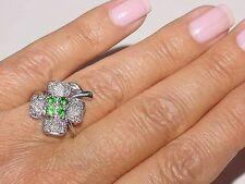 PLATINUM Round Diamond Emerald Anniversary Promise Ring Sise 7.5 Vintage Estate
