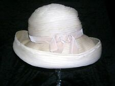 Beautiful Vintage 1950's - 1960's Cream pleated hat by Patrice