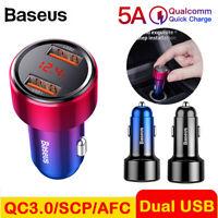 Baseus 5A 6A 45W Dual USB Car Charger Digital Display QC 3.0 Car Charger Adapter