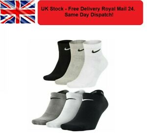 NIKE Mens Womens Kids Cotton Ankle No Show Invisible Trainer Sports Socks Lot