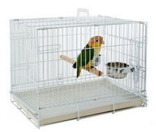 Travel Foldable Parrot Parakeet Bird Carrier Cage Stand Perch & Feeding Bowls