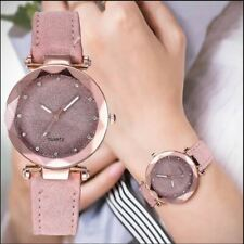 Ladies watchCasual Women Romantic Starry Sky Wrist Watch Leather Rhinestone Desi