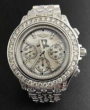 MENS SS BREITLING A44355 15ct DIAMOND AUTO CHRONO WATCH MOP DIAL WORKING PERFECT