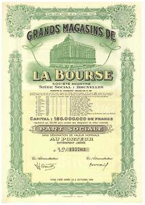 Grands Magasins De La Bourse. Bond Certificate. Brussels