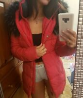 The North face red down jacket parka fur hood womens size xs RV-$480