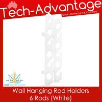 WHITE HORIZONTAL/VERTICAL HIGH-IMPACT POLYPROPYLENE WALL HANGING 6-ROD RACKS