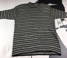 NEW Jones New York Short-Sleeve Blk-Wht Striped Turtle Neck Sweater Size Large