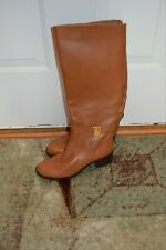 women's boots size 8.5 Michael Kors tan Leather upper rubber outer  knee high