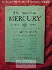 AMERICAN MERCURY August 1930 GEORGE P WEST S SCHUYLER J G LYNE ALFRED KREYMBORG