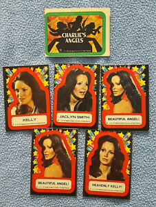 """1977 Lot of 6 Charlies Angels Trading Cards Stickers - ALL Jaclyn Smith """"Kelly"""""""