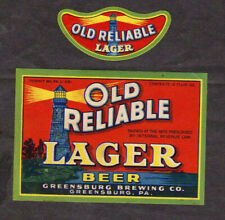 Old Reliable Lager Beer IRTP Permit Label w/Matching NECK Label Greensburg PA