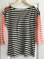 Ann Taylor Loft Small Black White Coral Pink 3/4 Sleeve Knit Top Shoulder Zip