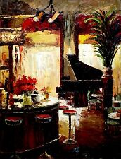Piano Bar, Heavy Impasto Quality Hand Painted Oil Painting 30x40in