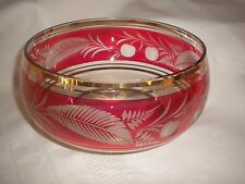 VINTAGE BOHEMIAN CRANBERRY GLASS BOWL GOLD ACCENTS AND ETCHED DESIGN