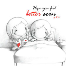 """""""Hope you Feel Better Soon"""" Cupids Card for him or her ill in bed grapes red b&w"""