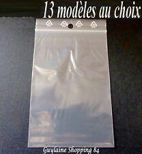 Sachets ZIP 100-200 plastique Pochette pression bag 13 modèles DIFFERENTE TAILLE