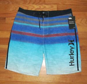 """Hurley Mens Phantom Vacancy Blue Striped Shorts 20"""" Swim 38 NWT"""