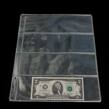 1 Sheet Album Pages 4 Pockets Money Bill Note Currency Holder Storage Collection